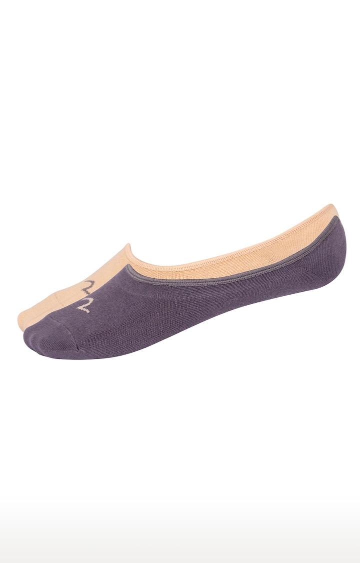 Grey & Beige Solid Shoe Liners ped socks