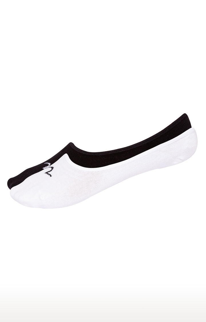 White & Black Solid Shoe Liners ped socks