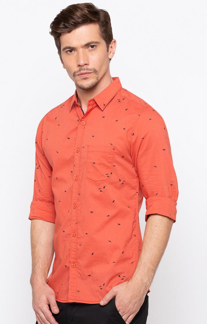 Orange Printed Slim Fit Casual Shirts