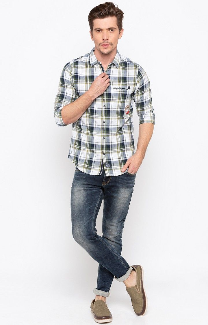 Green Checked Slim Fit Casual Shirts