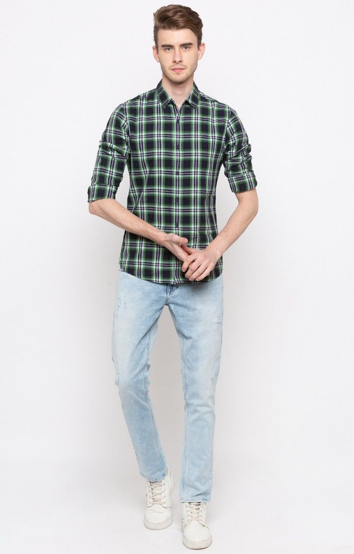 Blue & Green Checked Slim Fit Casual Shirts