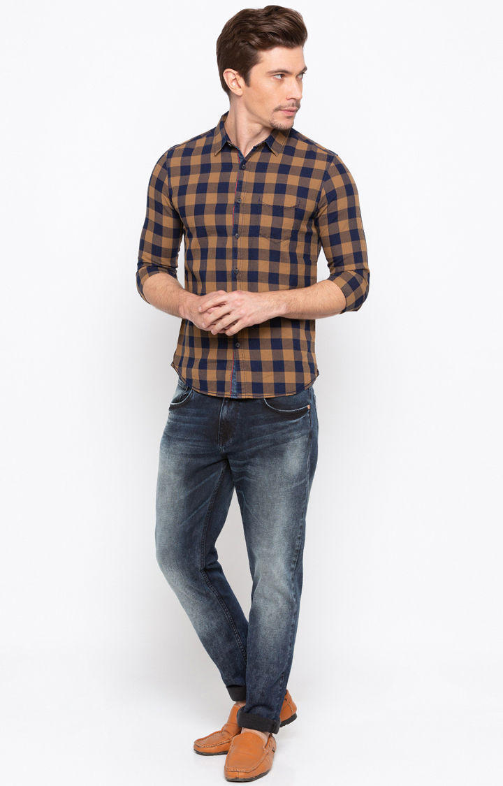 Indigo & Khaki Checked Slim Fit Casual Shirts