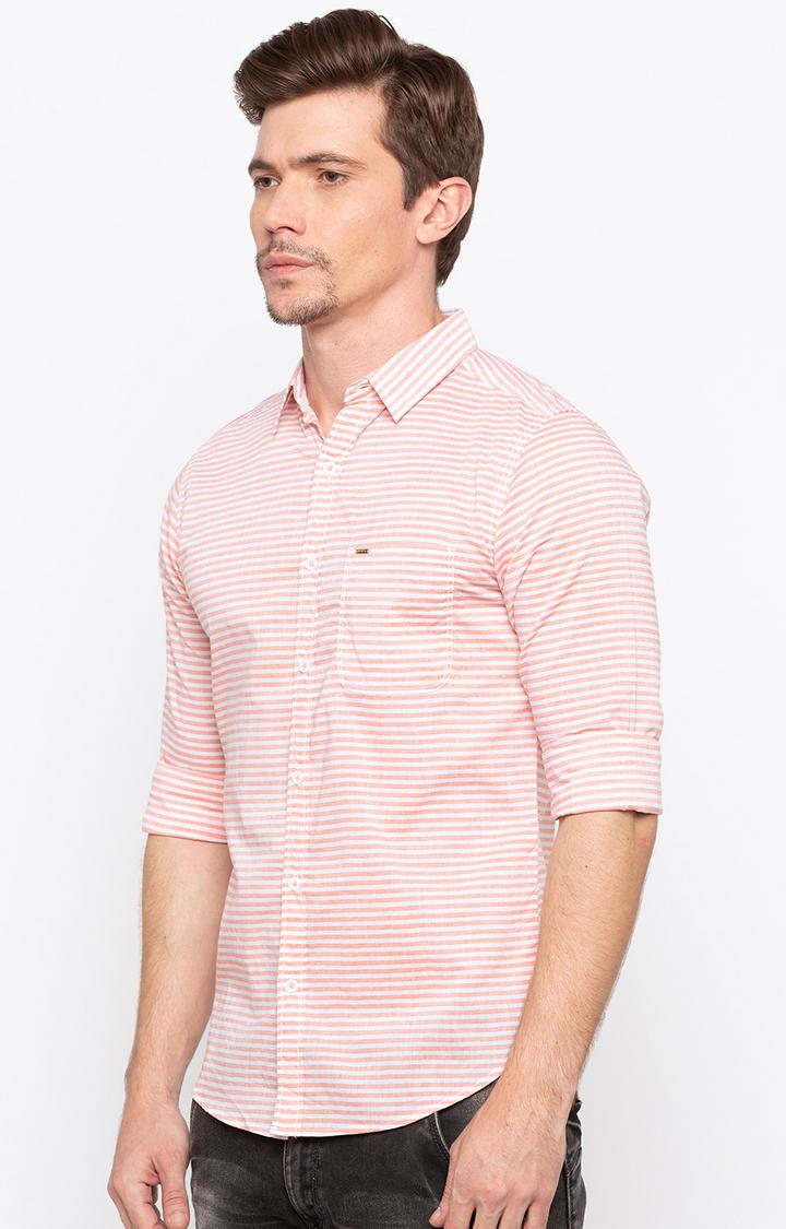 Orange Striped Slim Fit Casual Shirts