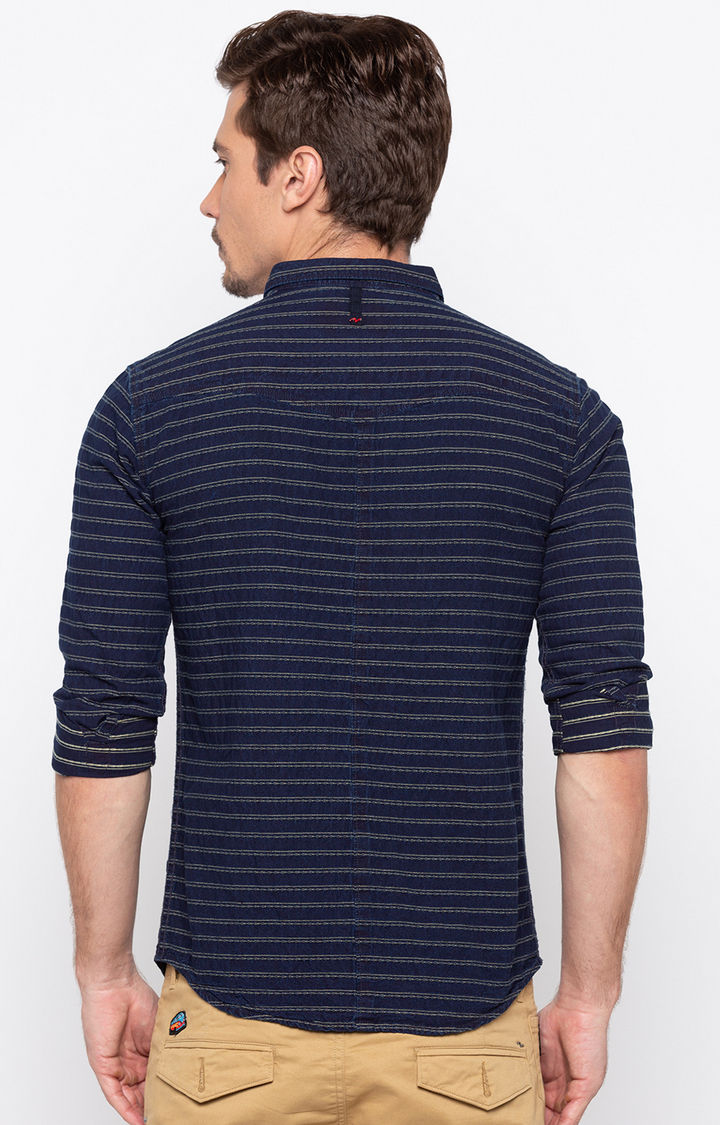 Indigo Striped Slim Fit Casual Shirts