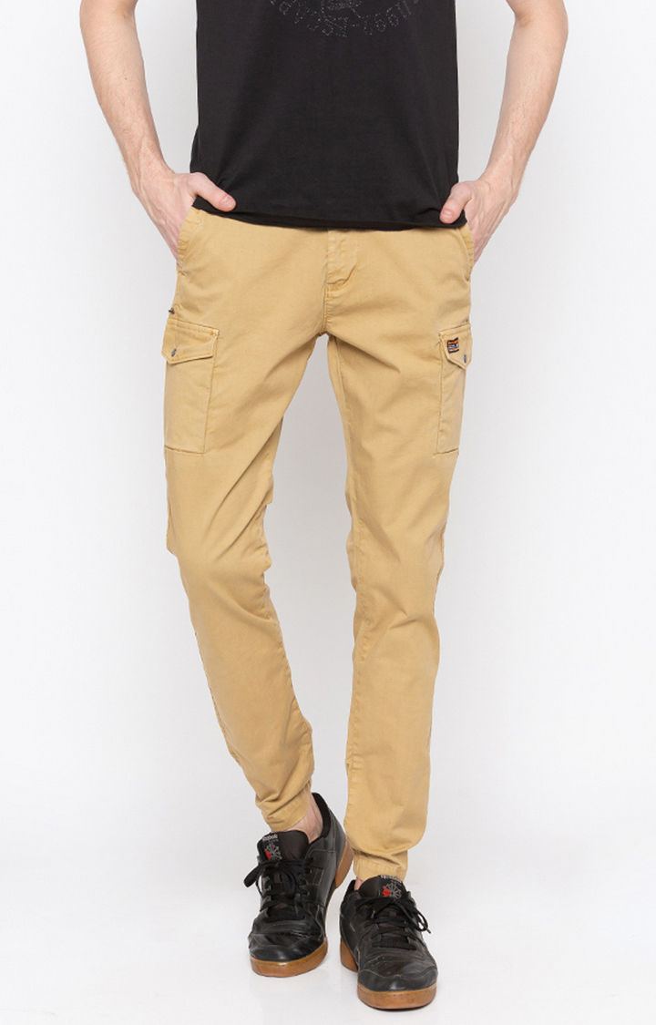 Khaki Solid Slim Fit Joggers