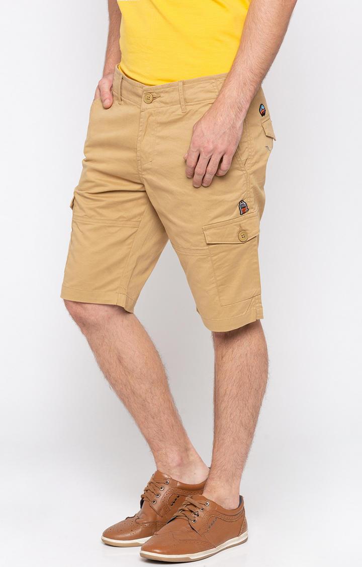 Khaki Solid Slim Fit Shorts