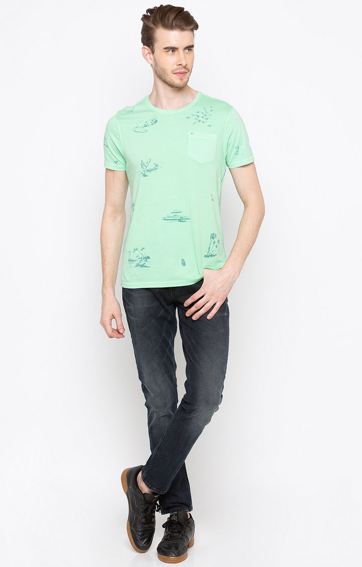 Green Printed Slim Fit T-Shirts