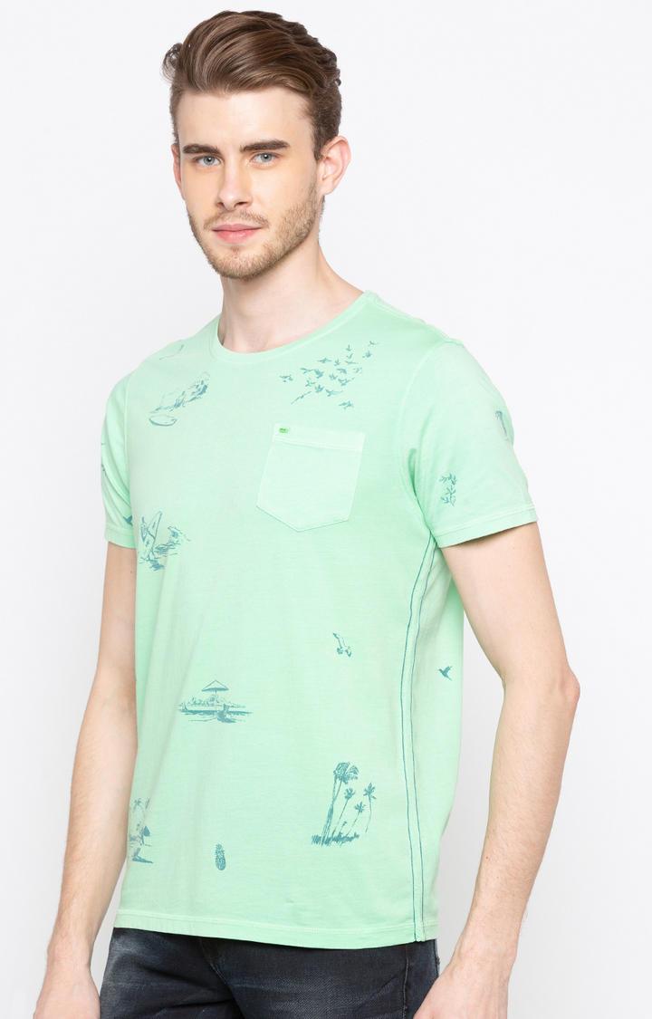 Green Printed Slim Fit T-Shirts