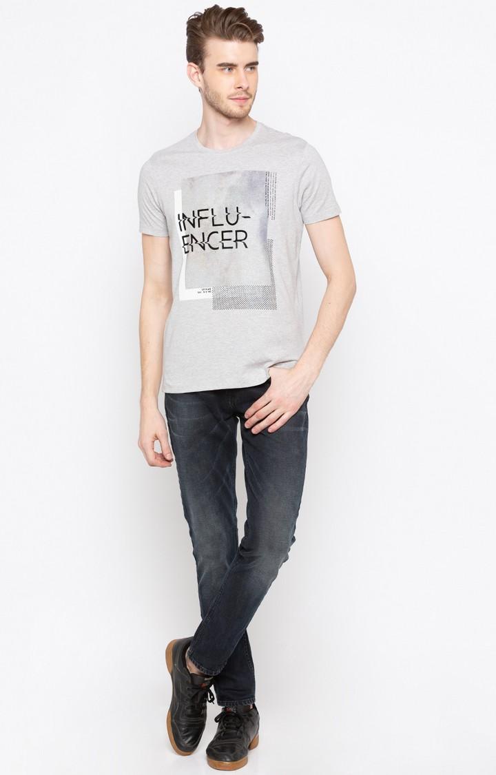 Grey Printed Slim Fit T-Shirts
