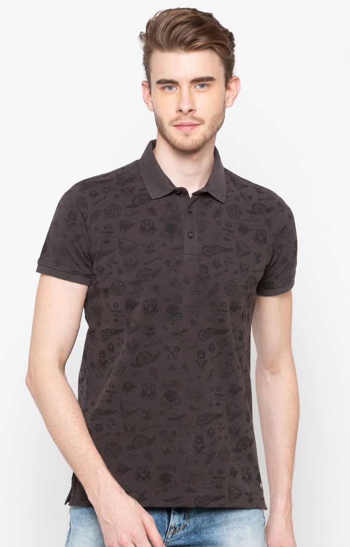 Dark Grey Printed Slim Fit Polo T-Shirt
