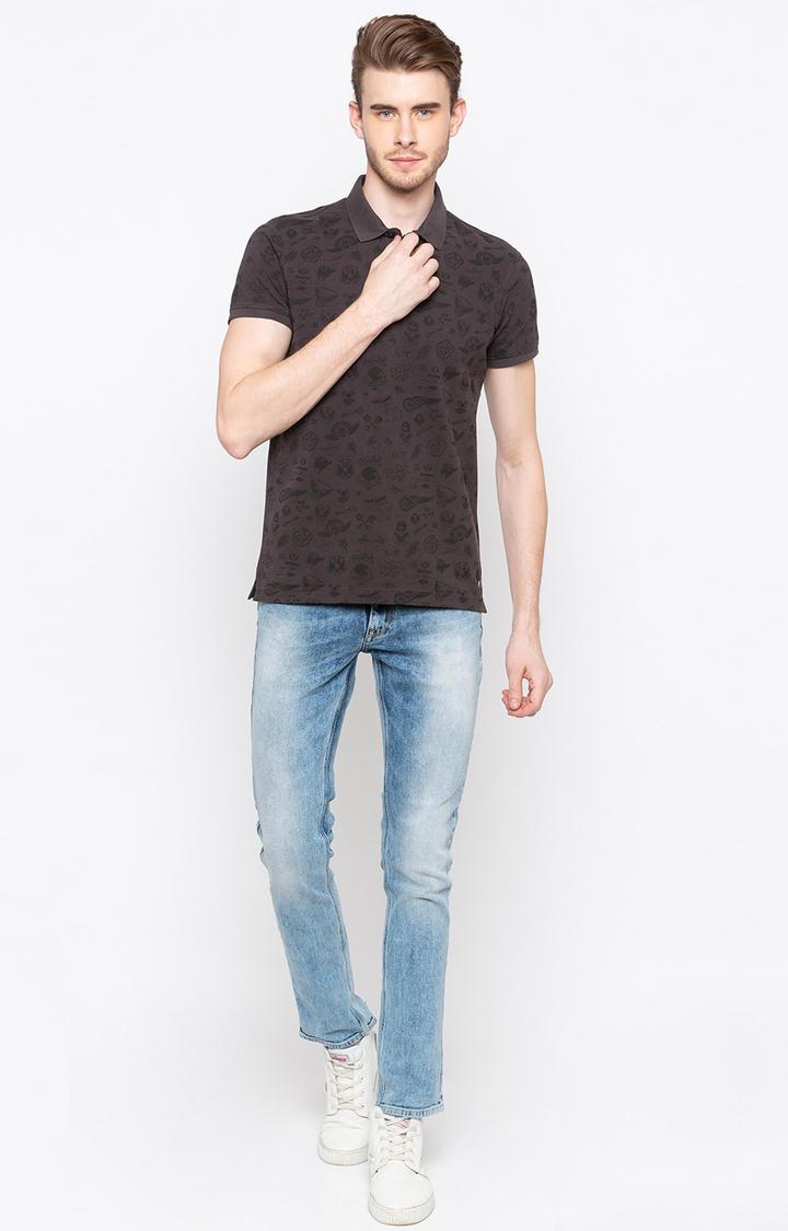Dark Grey Printed Slim Fit Polo T-Shirt