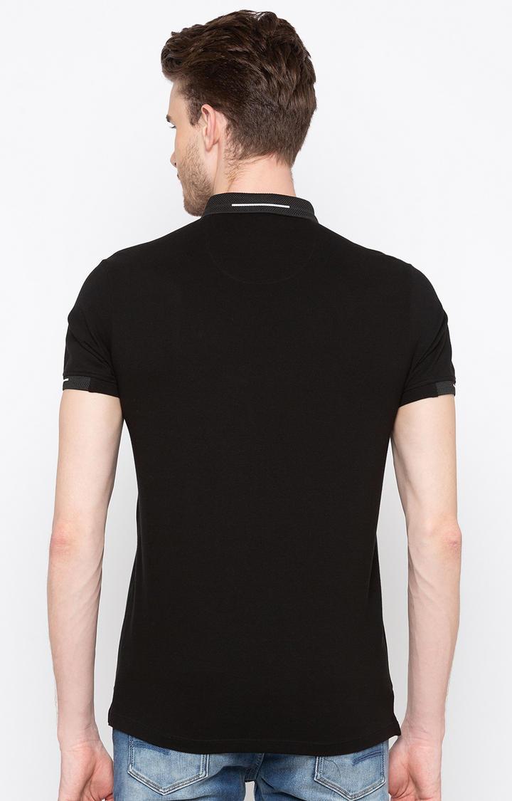 Black Solid Slim Fit Polo T-Shirt