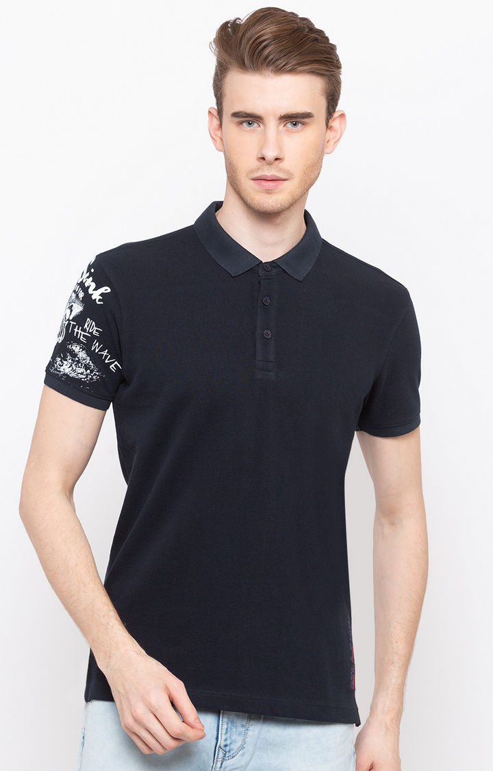 Navy Solid Slim Fit Polo T-Shirt