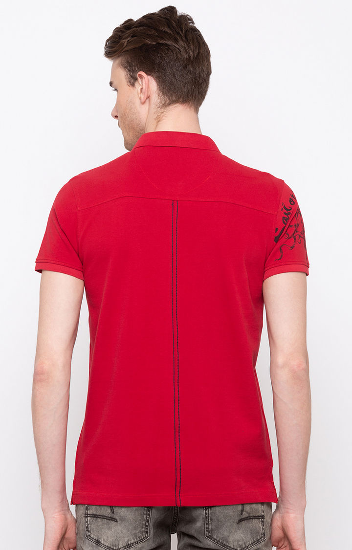 Red Solid Slim Fit Polo T-Shirt