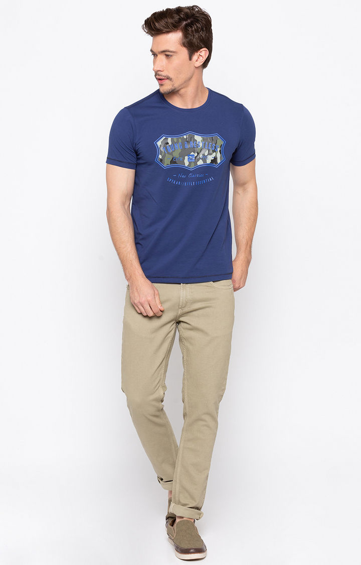 Royal Blue Printed Slim Fit T-Shirts