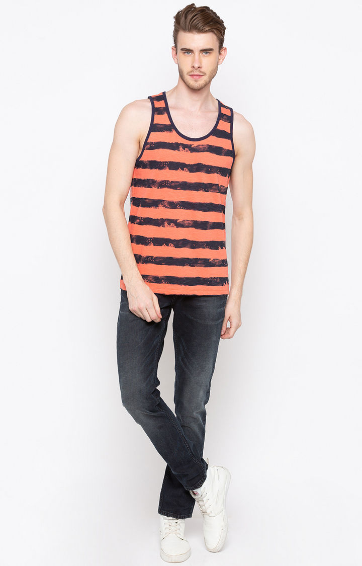 Peach Striped Slim Fit T-Shirts