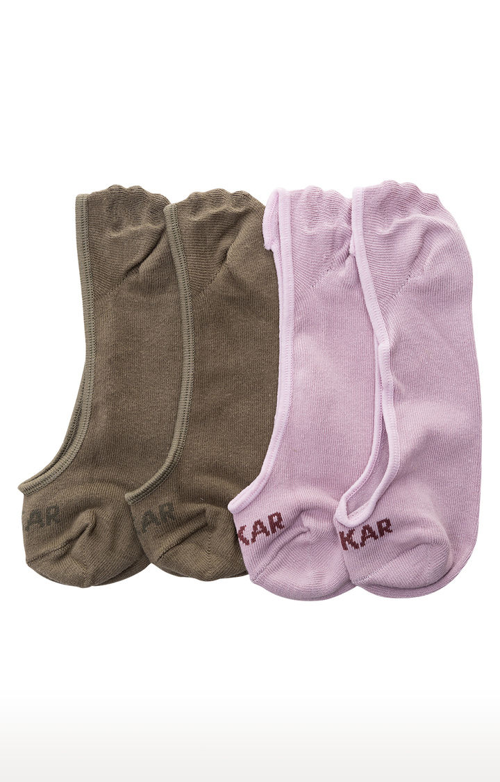 Purple and Olive Solid Socks - Pack of 2