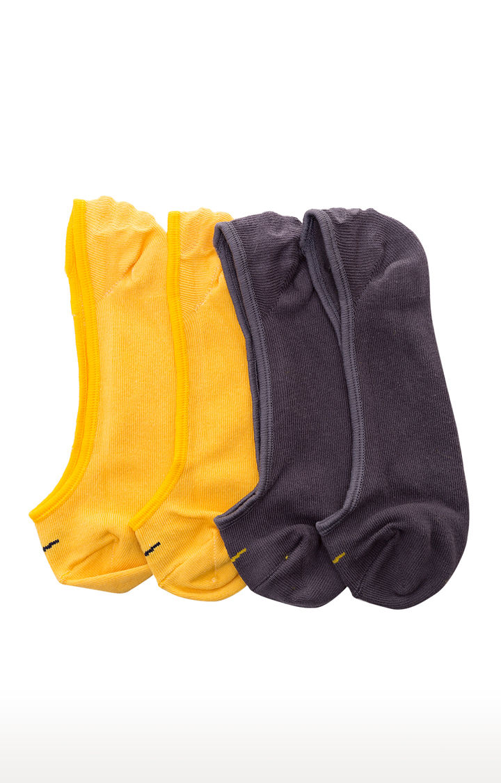 Grey and Yellow Solid Socks - Pack of 2