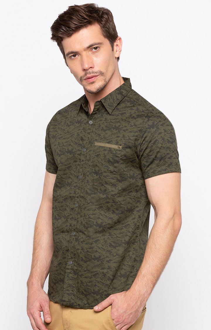 Dark Olive Camouflage Slim Fit Casual Shirts