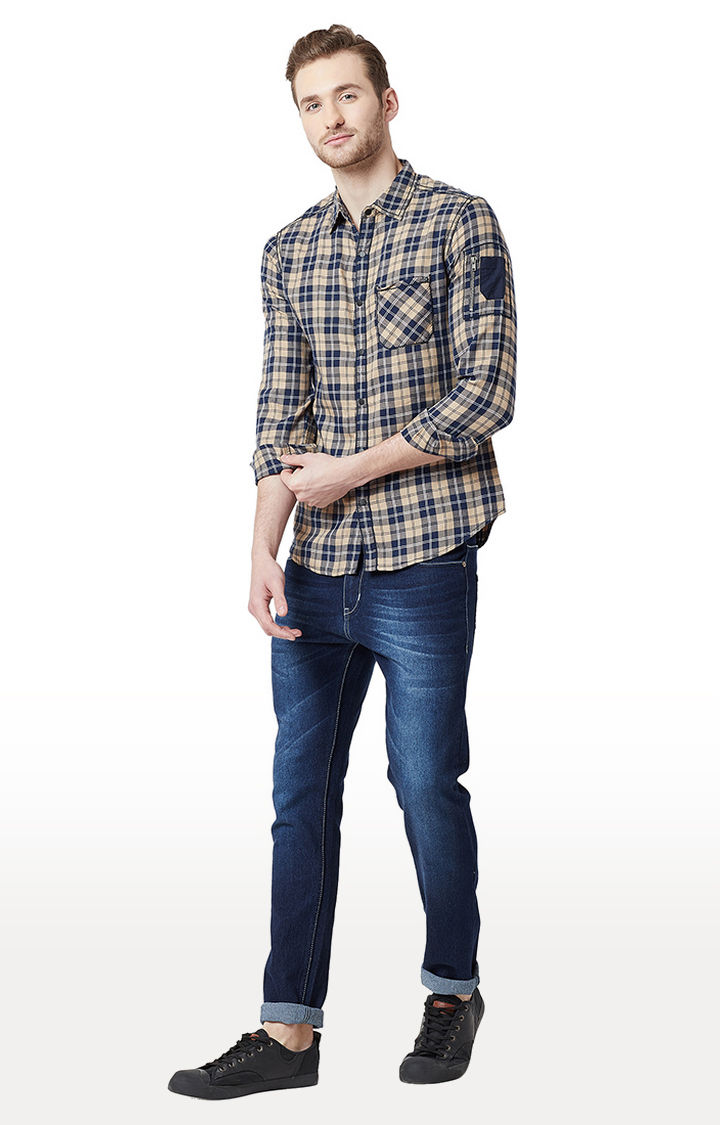 Beige & Navy Checked Slim Fit Casual Shirts