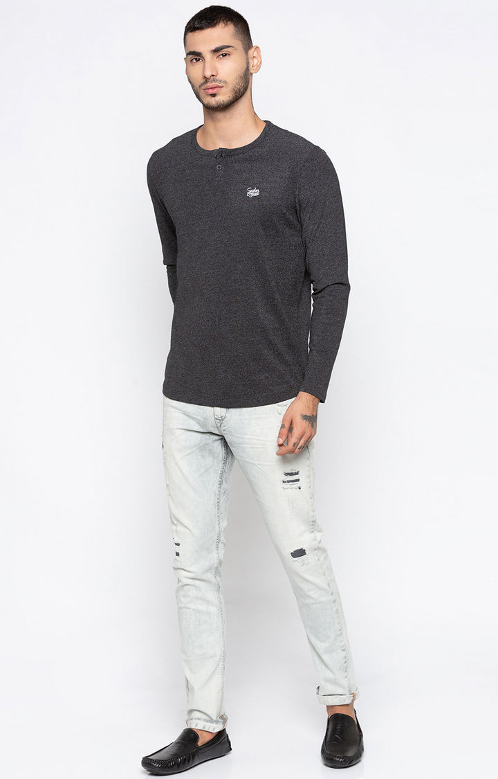 Black Melange Slim Fit T-Shirts