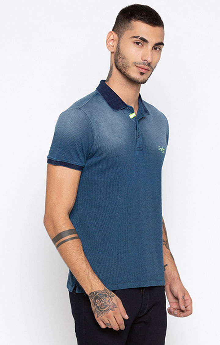 Indigo Solid Slim Fit Polo T-Shirt