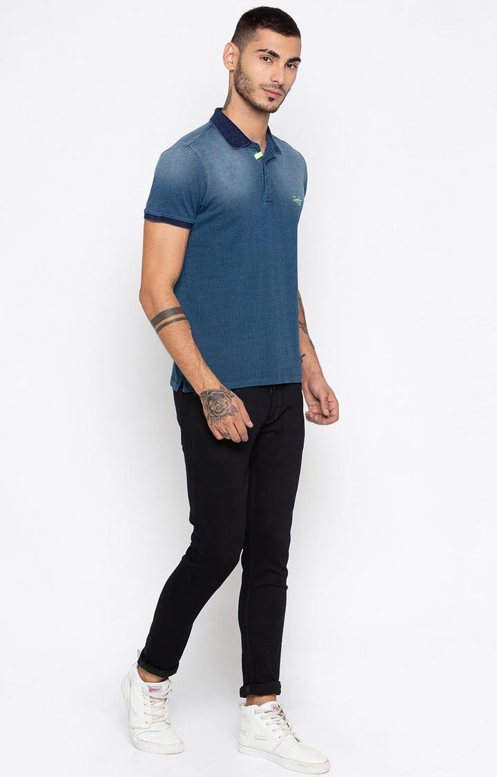 Indigo Solid Slim Fit Polo T-Shirt
