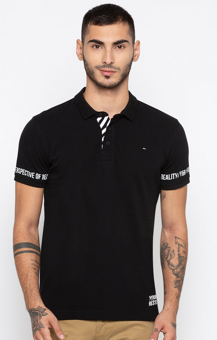 Black Printed Slim Fit Polo T-Shirt