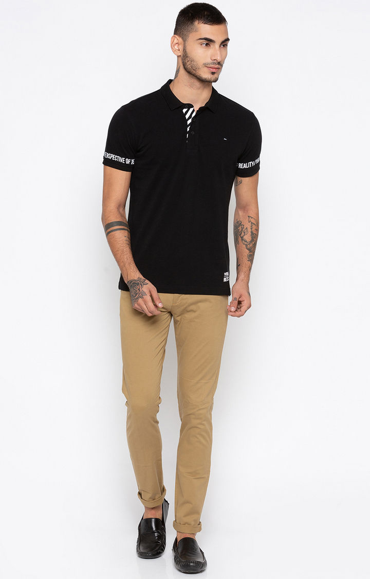 Black Printed Slim Fit Polo T-Shirt