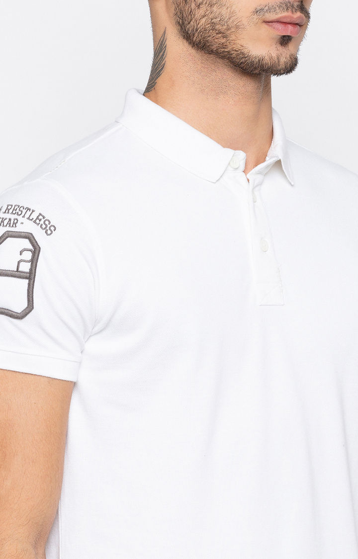 White Solid Slim Fit Polo T-Shirt