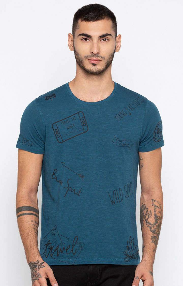 Teal Printed Slim Fit T-Shirts