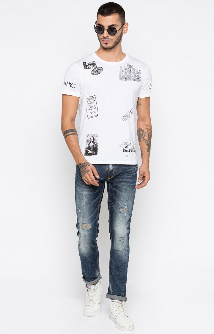 White Printed Slim Fit T-Shirts