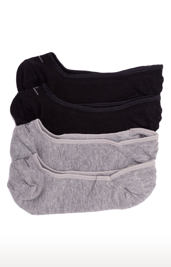 Black and Grey Solid Socks - Pack of 2