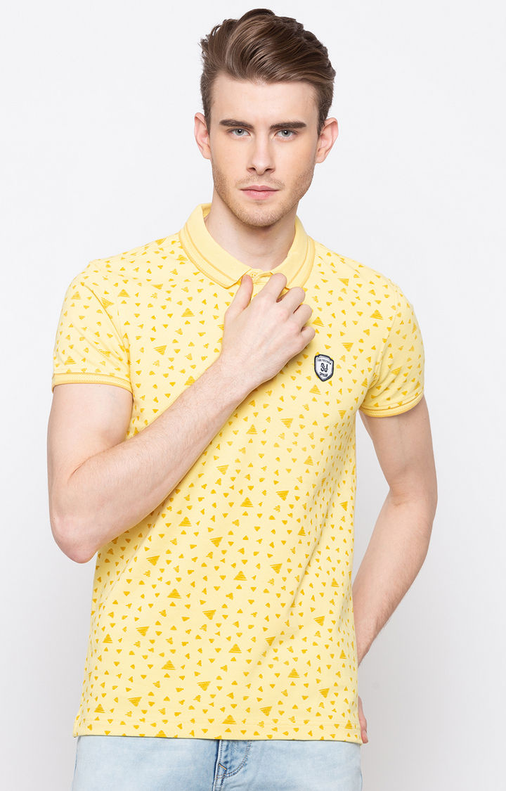 Pastle Yellow Printed Slim Fit Polo T-Shirt