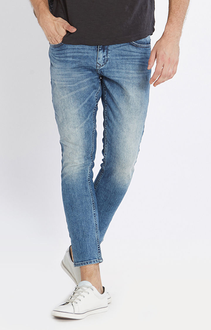 Blue Solid Slim Thigh Ankle Length Fit Jeans