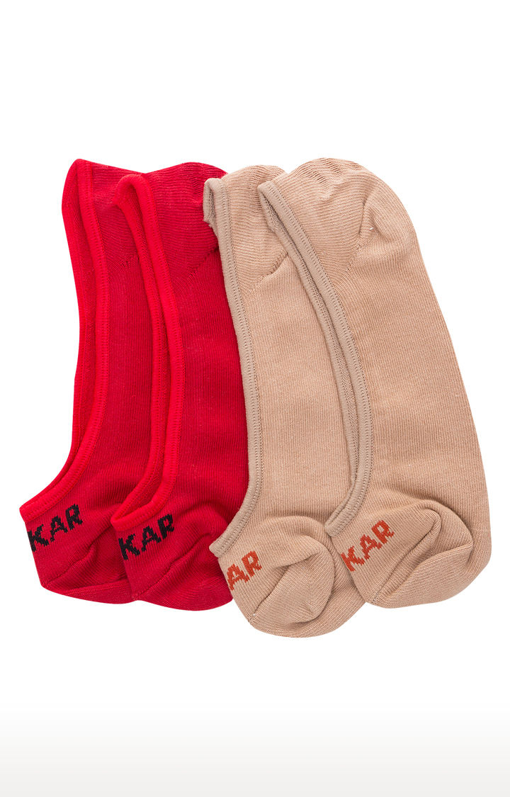 Red and Beige Solid Socks - Pack of 2