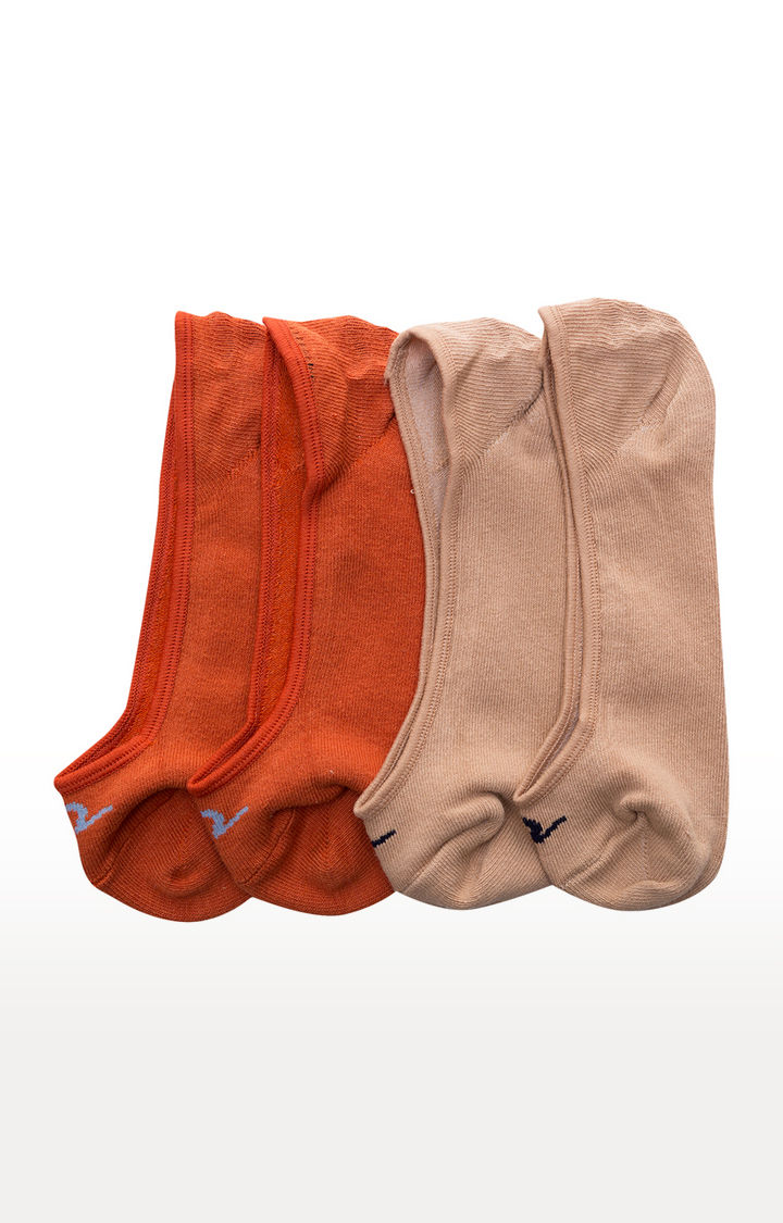 Orange and Beige Solid Socks - Pack of 2