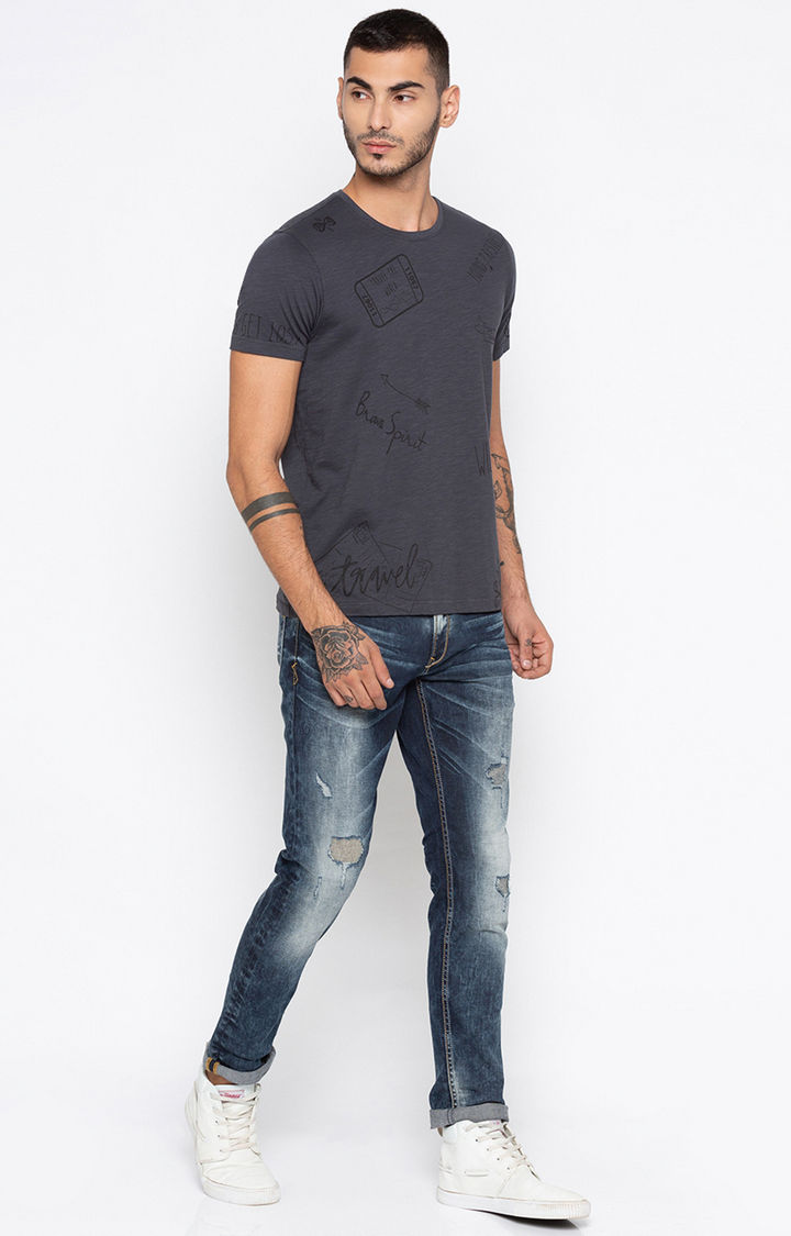 Dark Grey Printed Slim Fit T-Shirts