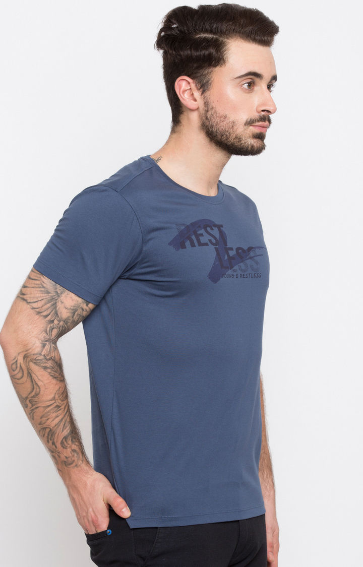 Denim Blue Printed Slim Fit T-Shirts