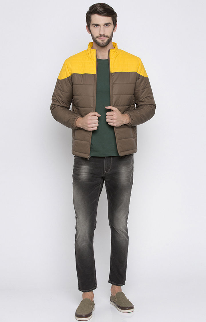 Brown Colourblock Regular Fit Bomber Jackets