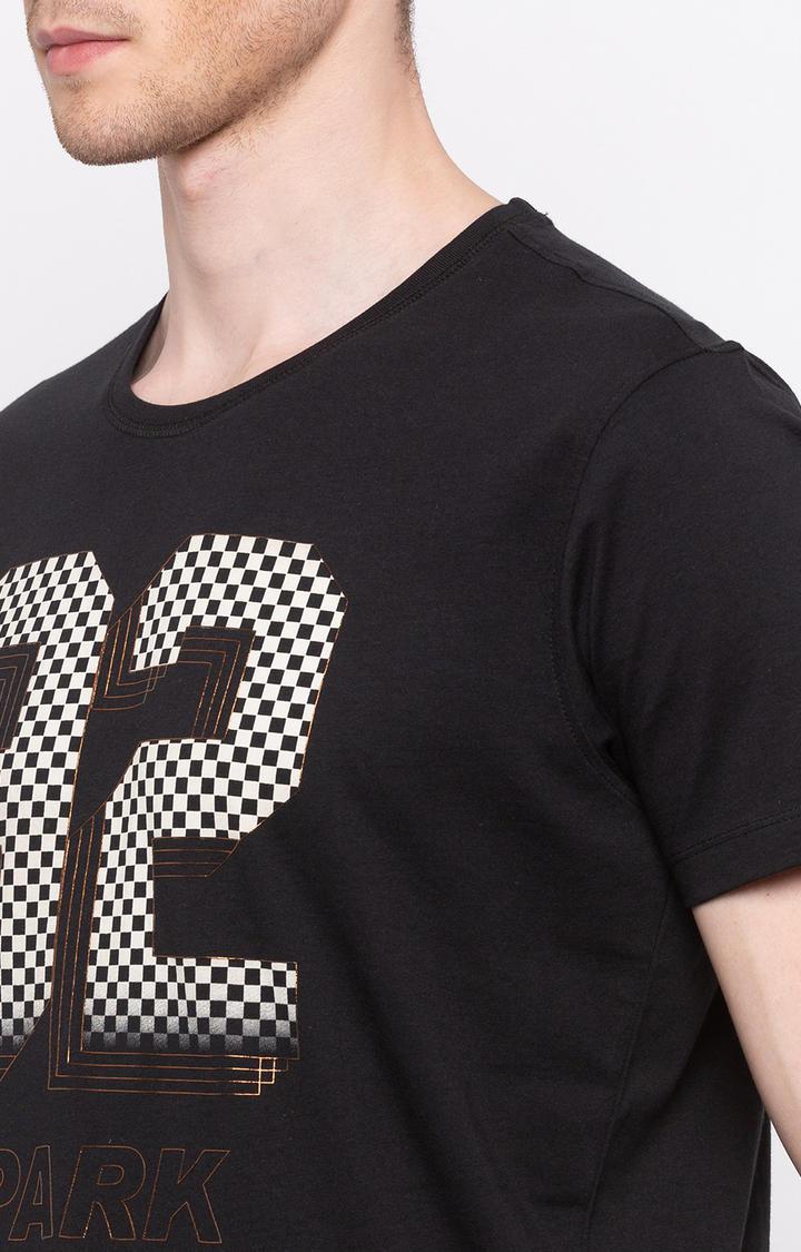Jet Black Printed Slim Fit T-Shirts