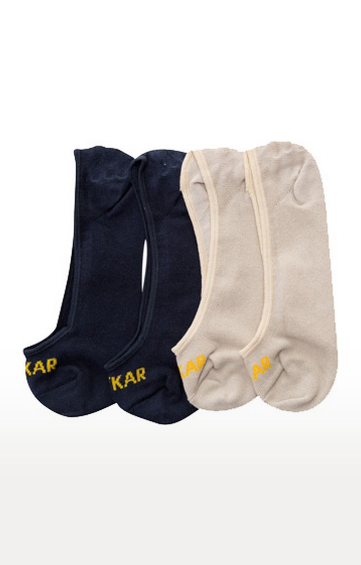 Navy and Beige Solid Socks - Pack of 2