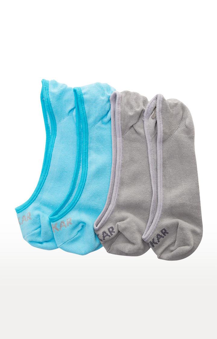 Sky Blue & Grey Solid Shoe Liners ped socks
