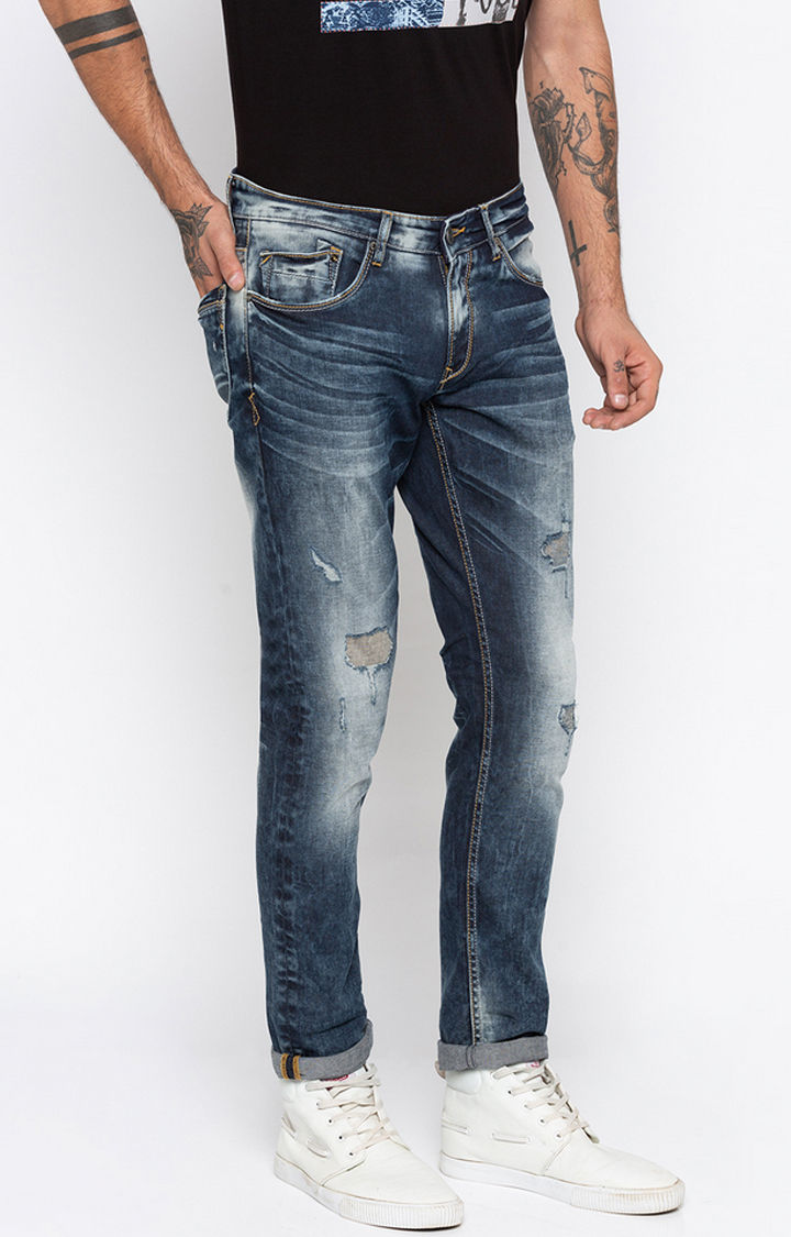 Blue Ripped Regular Fit Jeans