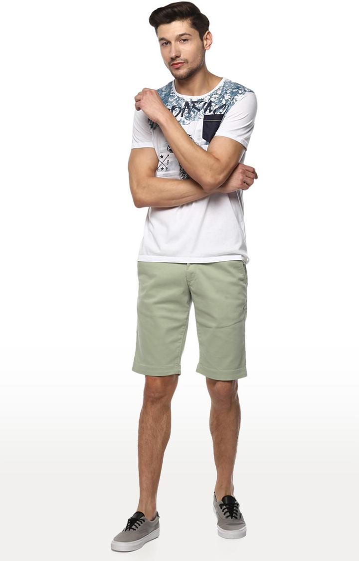 Mint Solid Slim Fit Shorts