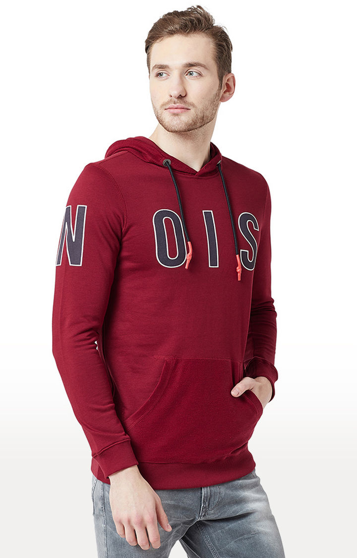 Maroon Printed Slim Fit Hoodies