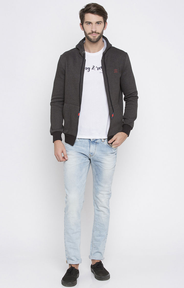 Grey Solid Slim Fit Hoodies