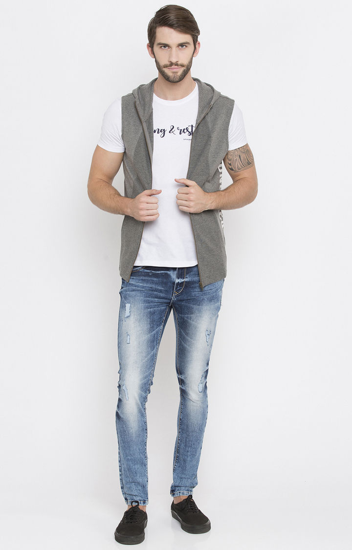 Grey Melange Slim Fit Hoodies