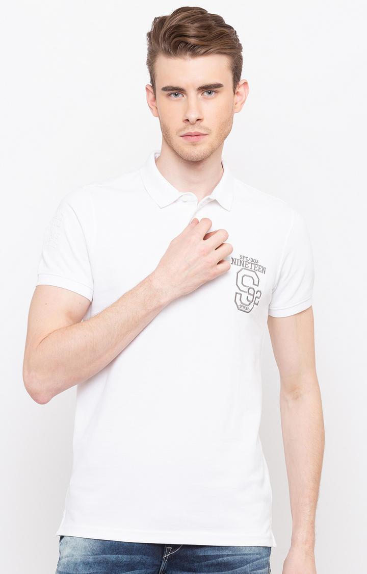 White Printed Slim Fit Polo T-Shirt