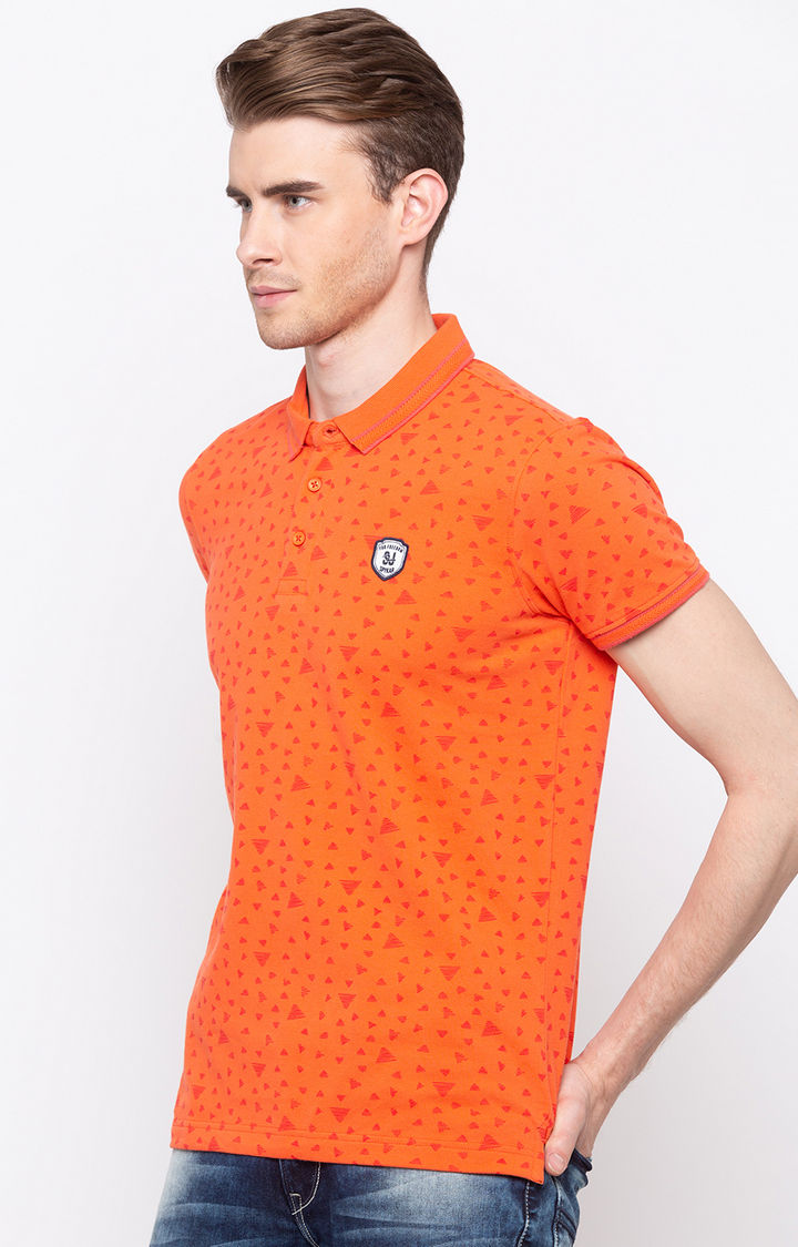 Coral Printed Slim Fit Polo T-Shirt